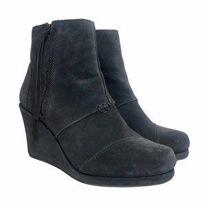 TOMS Desert Wedge Ankle Boots Dark Gray Suede